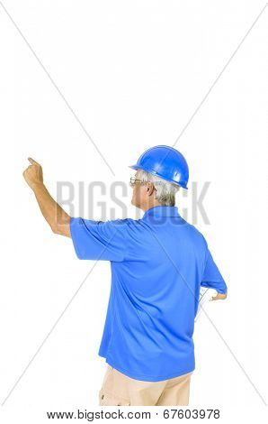older contractor with building plans under his arm, gesturing towards some aspect of the building, isolated on white