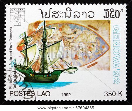 Postage Stamp Laos 1992 Map By Paolo Del Pozo Toscanelli