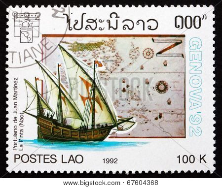 Postage Stamp Laos 1992 Map By Juan Martinez