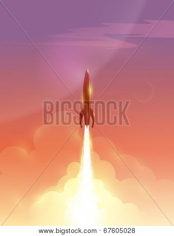Vector illustration of retro rocket over beautiful sky background, eps10