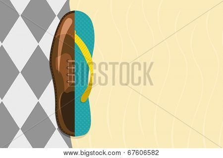 Vector illustration of formal shoe and flip flop with copy-space, vacation concept