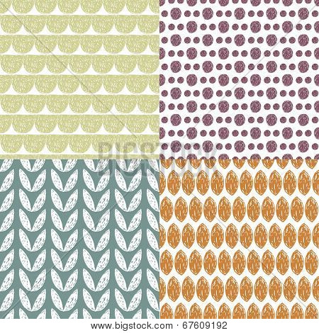 Seamless vintage garden abstract geometric leaf and raw brush collection illustration background pattern set in vector