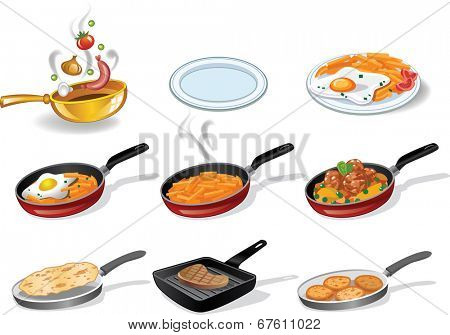 Collection of icons of a frying pan with tasty food