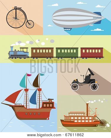 Set of flat vintage transportation icons: bycicle, zeppelin, train, pirat ship, car, steamboat.