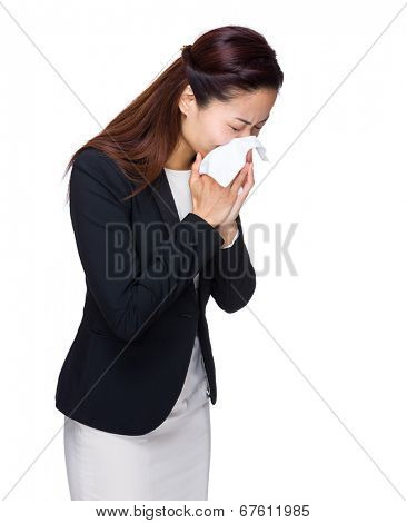 Asian business woman sneeze