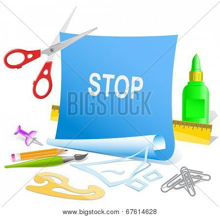 Stop. Paper template. Raster illustration.