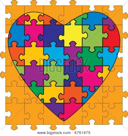 Multicolored Heart Shaped Puzzle