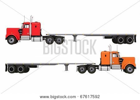 Flat Trailer Trucks Isolated