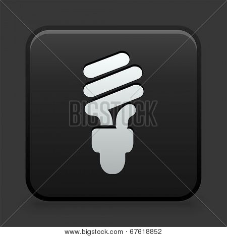 Fluorescent Lightbulb Icon on Black and White Button