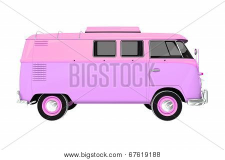 Pinky Vintage Camper Isolated