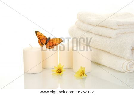 Candles And Bath Towels