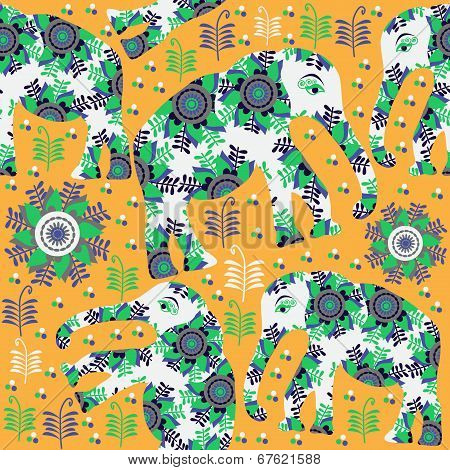 Seamless Pattern With Cute Colorful Elephants And Seamless Pattern In Swatch Menu