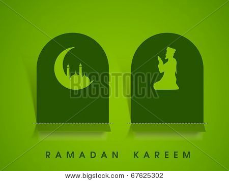 Beautiful sticky design with crescent moon, mosque and religious muslim man praying on green background.