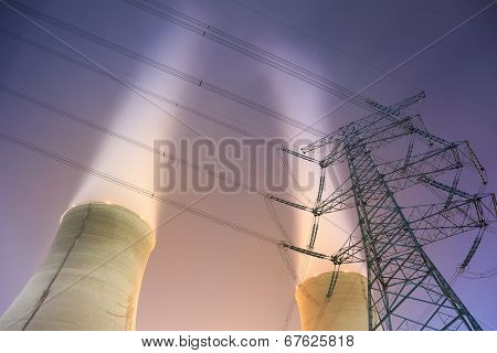 Cooling Towers And Power Transmission Tower