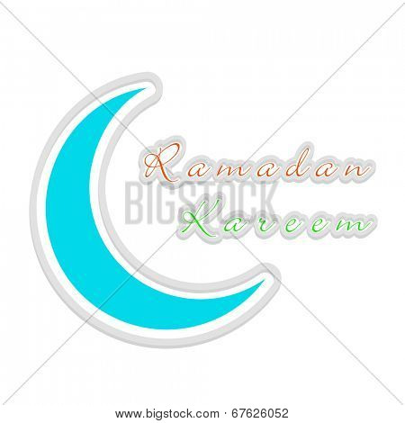 Beautiful blue crescent moon on grey background for holy month of Muslim community Ramadan Kareem.
