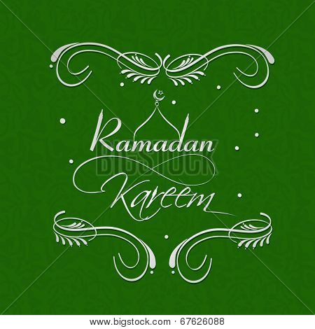 Stylish text Ramadan Kareem on floral decorated green background for holy month of Muslim community Ramadan Kareem celebrations.