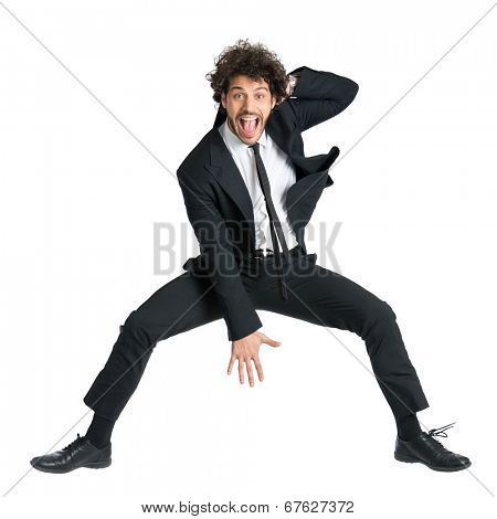 Portrait Of Happy Smiling Man In Suit Jumping Isolated On White Background