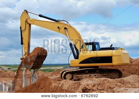 Excavator Loader At Construction Site