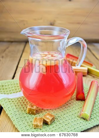 Compote From Rhubarb In Jug On Board