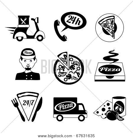 Pizza icons set black and white