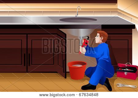 Plumber Fixing A Leaky Faucet