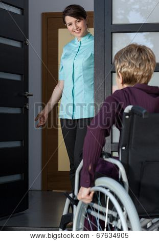 Disabled Lady Coming Back Home
