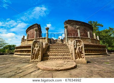 Historical Polonnaruwa capital city ruins in Srilanka
