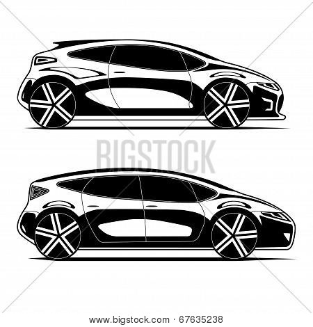 Silhouettes of cars isolated on white background
