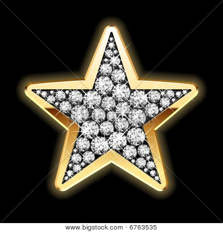 Star in diamonds. Detailed vector.