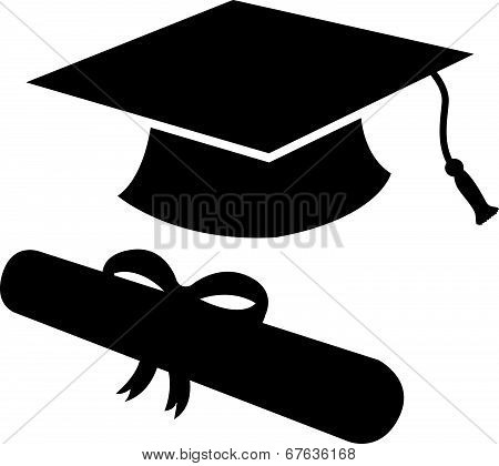 Graduation Hat And Diploma Silhouette
