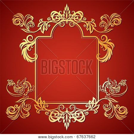 Vector Illustration Frame With Floral Ornament And Gargoyles