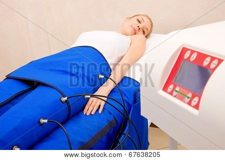 Legs Pressotherapy Machine On Woman In Beauty Center