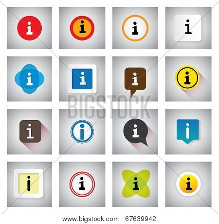 Info Or Information Vector Icons Set On Speech Bubbles Or Chat Signs
