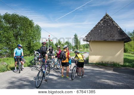 Group Of Cyclists Is Resting
