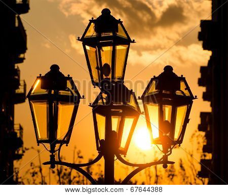 Street Lamps Silhouette