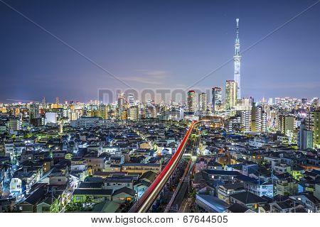 Tokyo, Japan cityscape at night from Minami-dai district.