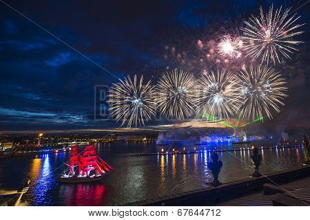 ST.PETERSBURG, RUSSIA - JUN 20, 2014: The frigate participated in festivities marks school graduations. In 2014, the festival Scarlet Sails celebrates its tenth anniversary.