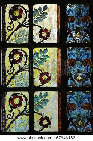 PARIS, FRANCE - NOV 05, 2012: Stained glass window decorated with flowers in Church of St Eustace. Saint-Eustache was built in 1532-1632 and considered a masterpiece of late Gothic architecture.