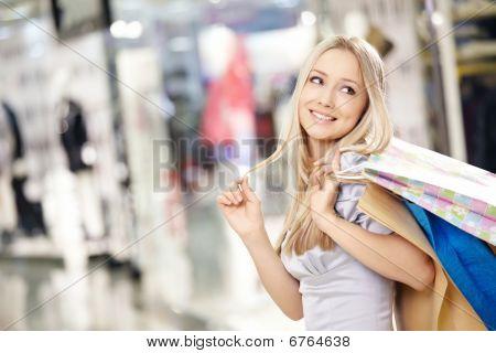 Smiling Shopping Woman