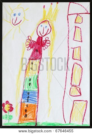 Original child's drawing of a princess next to the multistorey house drawing by a five-year-old girl.