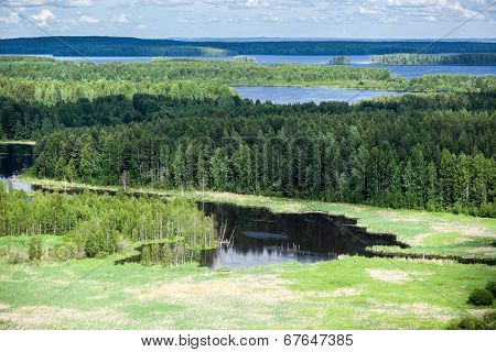 Evergreen Woods And Blue Lakes In Karelia, Aerial View