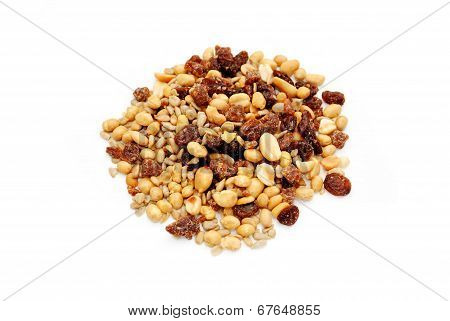 A Heap Of Nutty Trail Mix On White