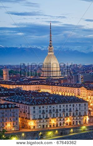 Turin (torino), Mole Antonelliana And Piazza Vittorio, Twilight