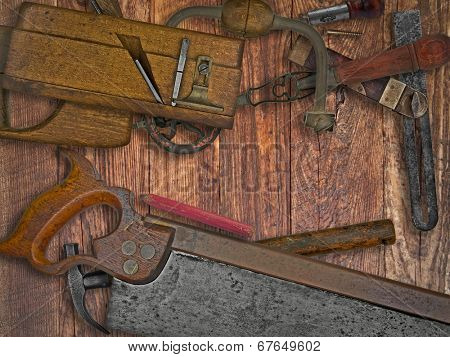 vintage woodworking tools on wooden bench, space for your text
