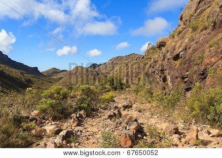 Landscape Mountains Stone Road In Itatiaia National Park, Brazil