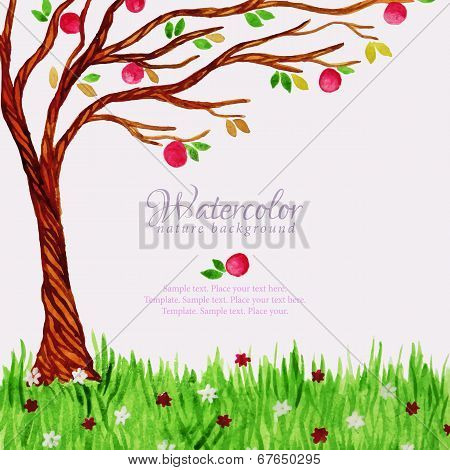 Watercolor tree with apples and grass
