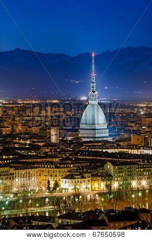 Turin (torino), Night Panorama With The Mole Antonelliana And Alps