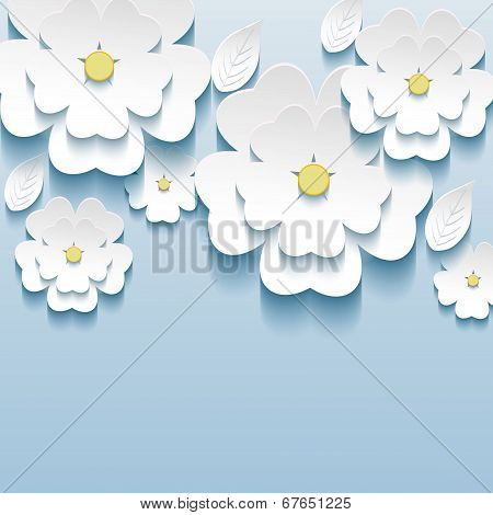 3D Flowers Sakura White, Trendy Beautiful Wallpaper