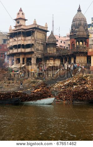 View To Manikarnika Ghat On Ganges River, Varanasi