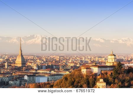 Turin (torino), Panorama At Sunset